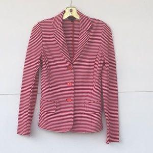 Talbots red and white striped blazer